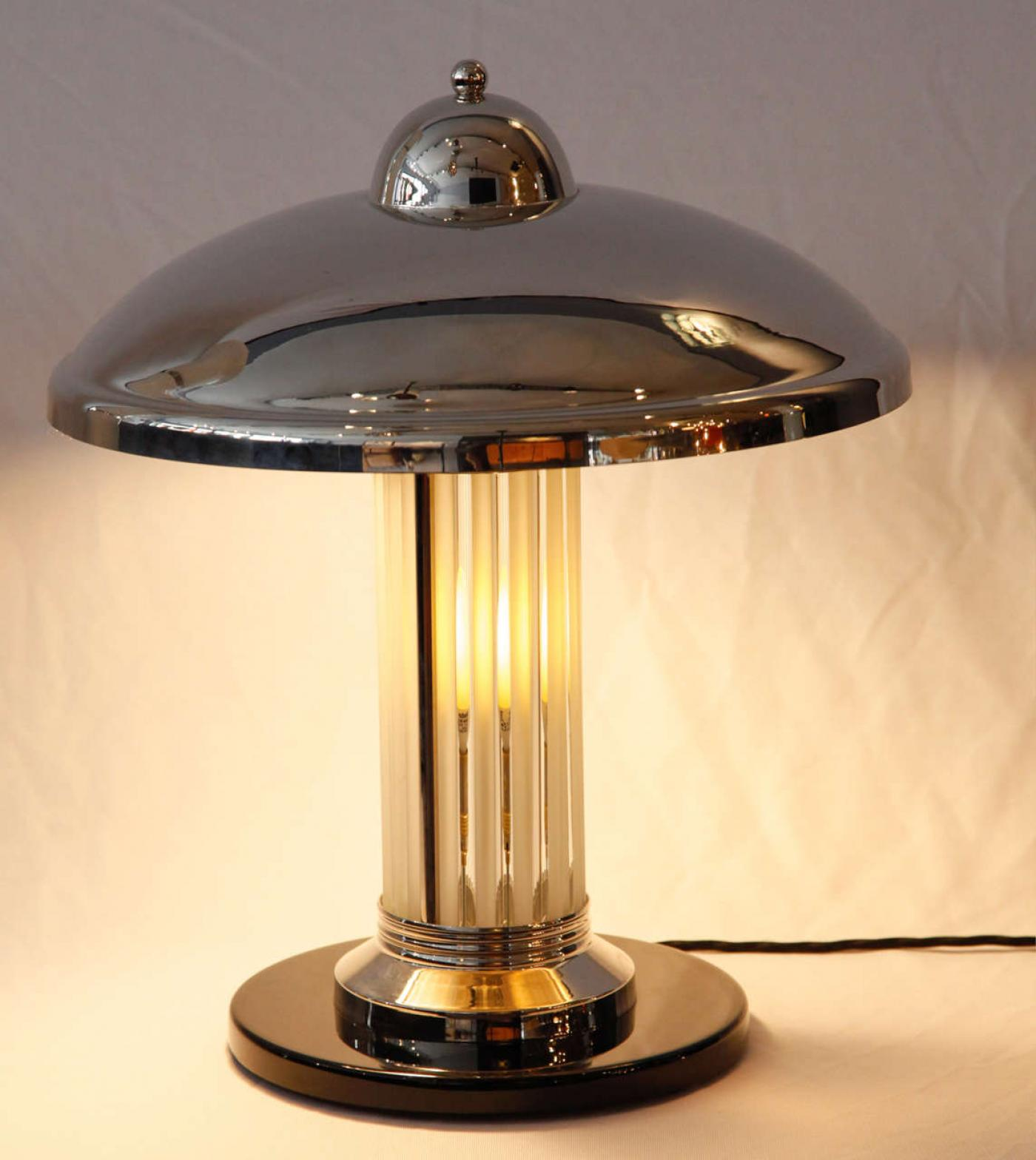 Pair french art deco petitot table or desk lamps