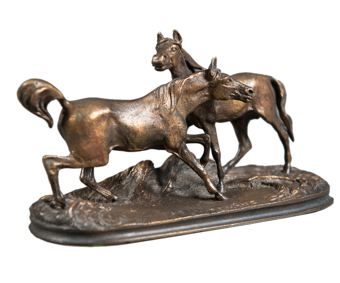 Patinated Miniature Bronze Figure Of Two Horses By P J