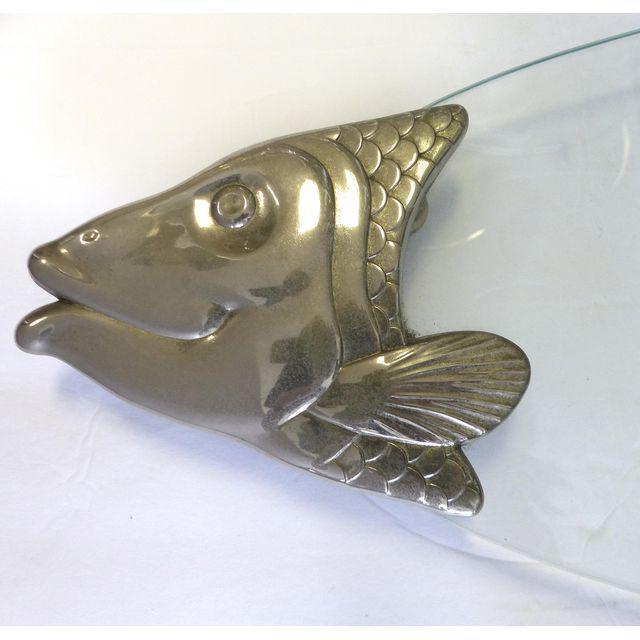 Pewter and glass fish serving platter modernism for Fish serving platter
