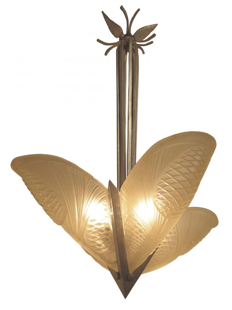 French Art Deco Noverdy Slip In Shade Pine Cone Chandelier