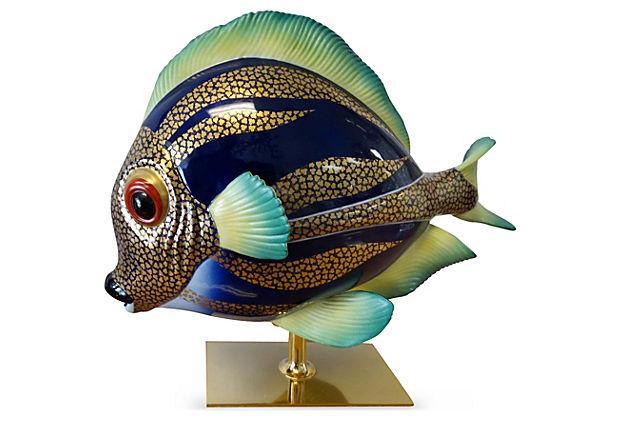Mid Century Porcelain Glazed Fish By Mangani For Oggetti