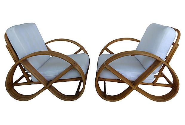 Mid Century Modern Rattan Pretzel Chairs By Tochiko, Japan