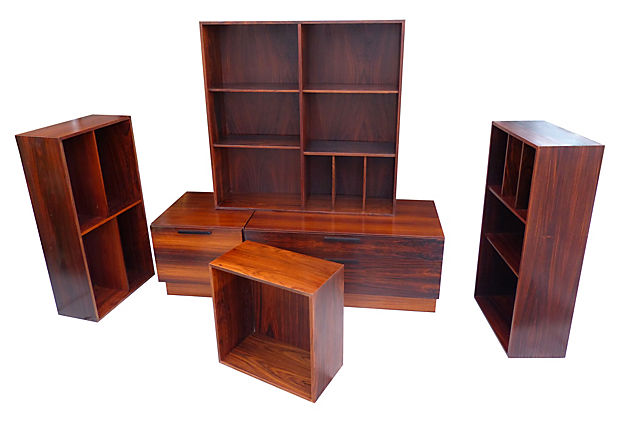 danish modern wall unit by kofod larsen for i s faarup m bel modernism. Black Bedroom Furniture Sets. Home Design Ideas
