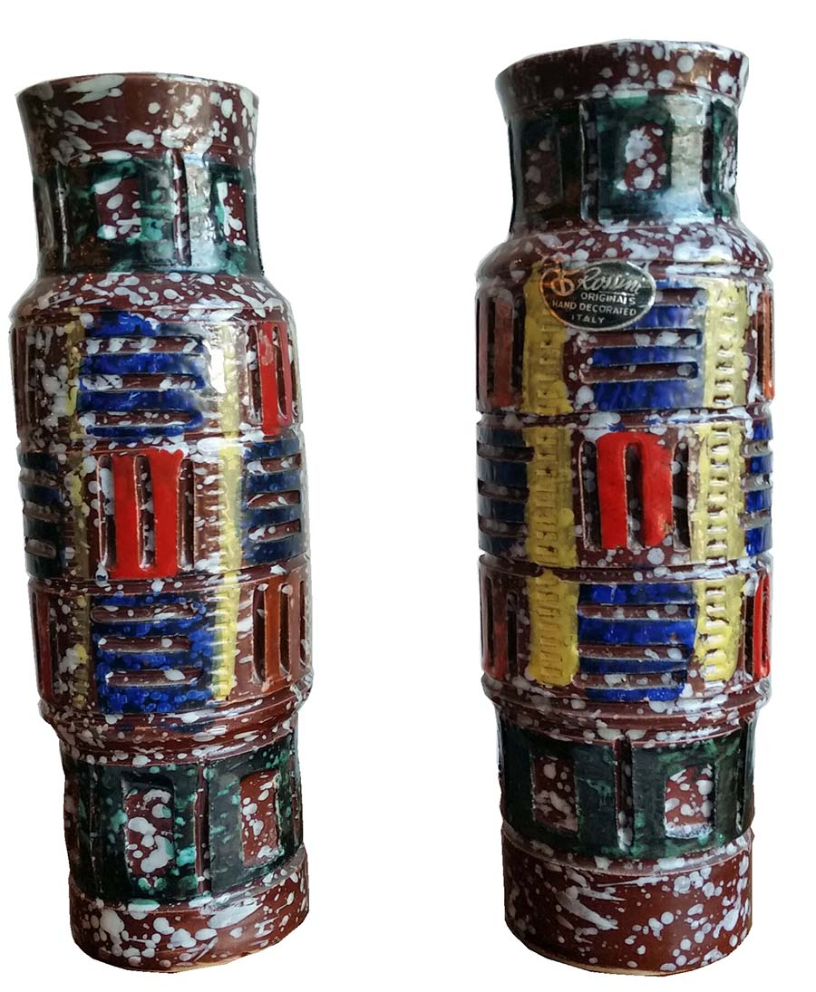 Pair Of Rossini Italian Ceramic Mid Century Vases