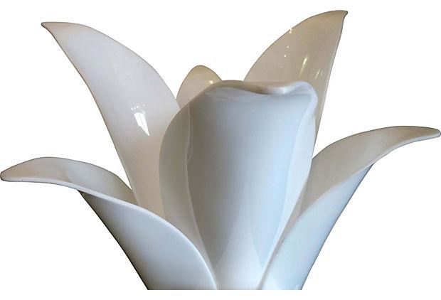 White Acrylic Rougier Flower Lamp Modernism