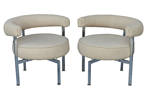 Mid Century Modern Upholstered Round Chrome Club Chairs