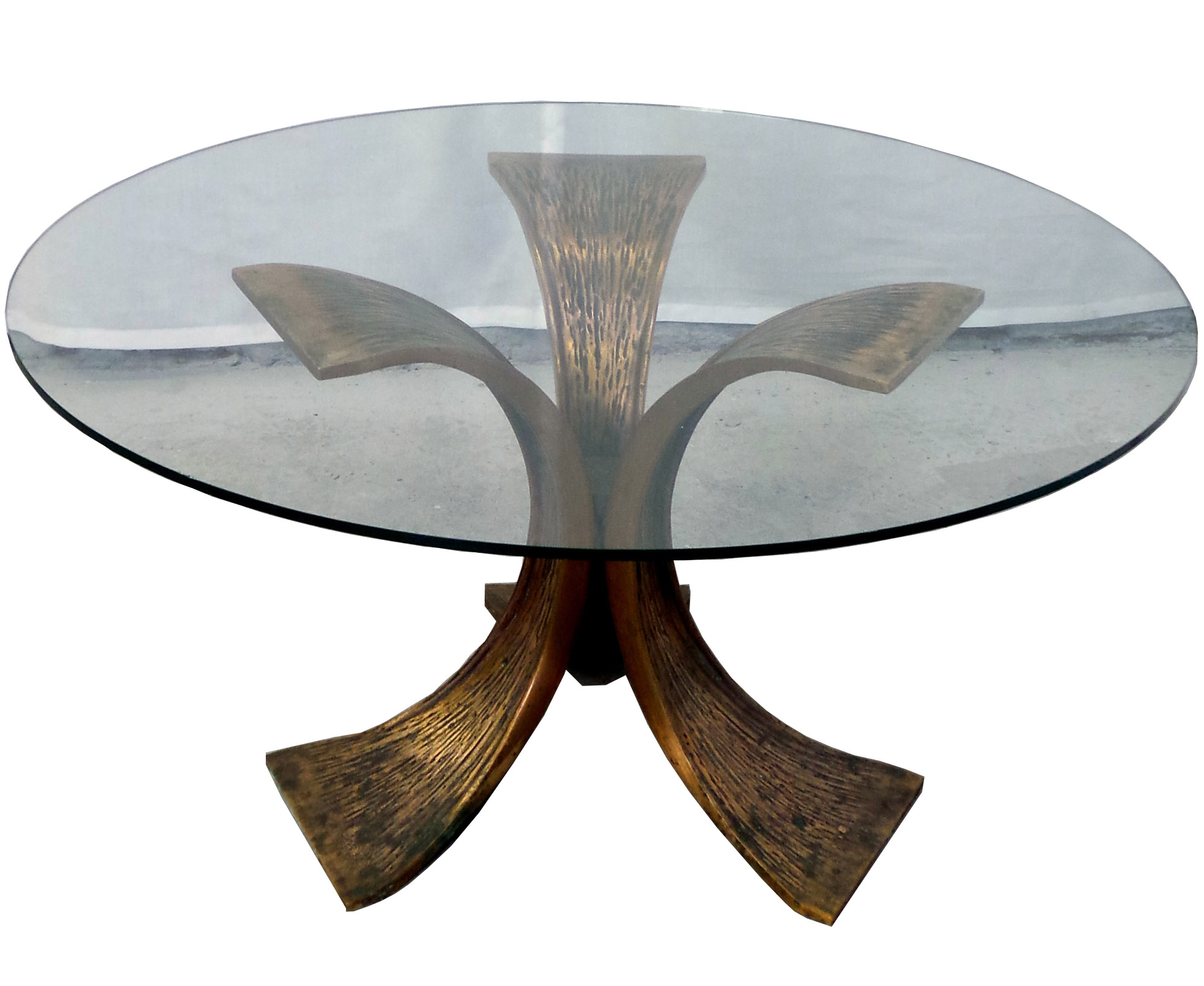 Exceptionnel Round Glass Sofa Table With Bronze Base.