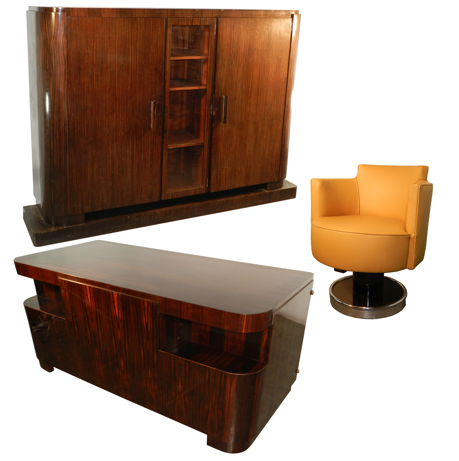 Decoene Freres Set Of Art Deco Desk And Library