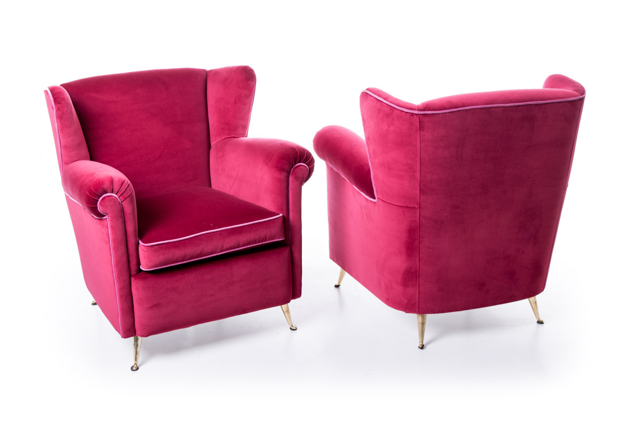 Pair Fifties Armchairs Magenta Upholstery Mcm Modernism