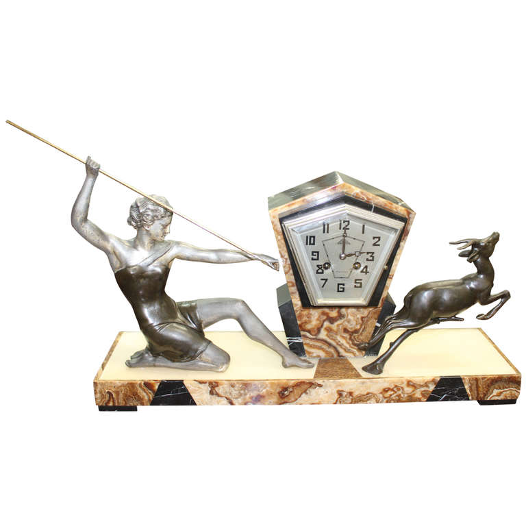 French Art Deco Clock Sculpture Group Diana The Huntress