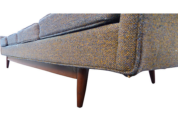 midcentury modern sofa by selig with original tweed fabric
