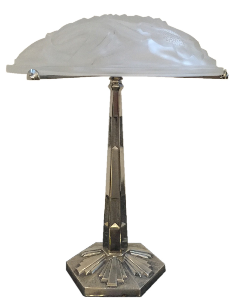 pair of signed degue french art deco table lamps modernism