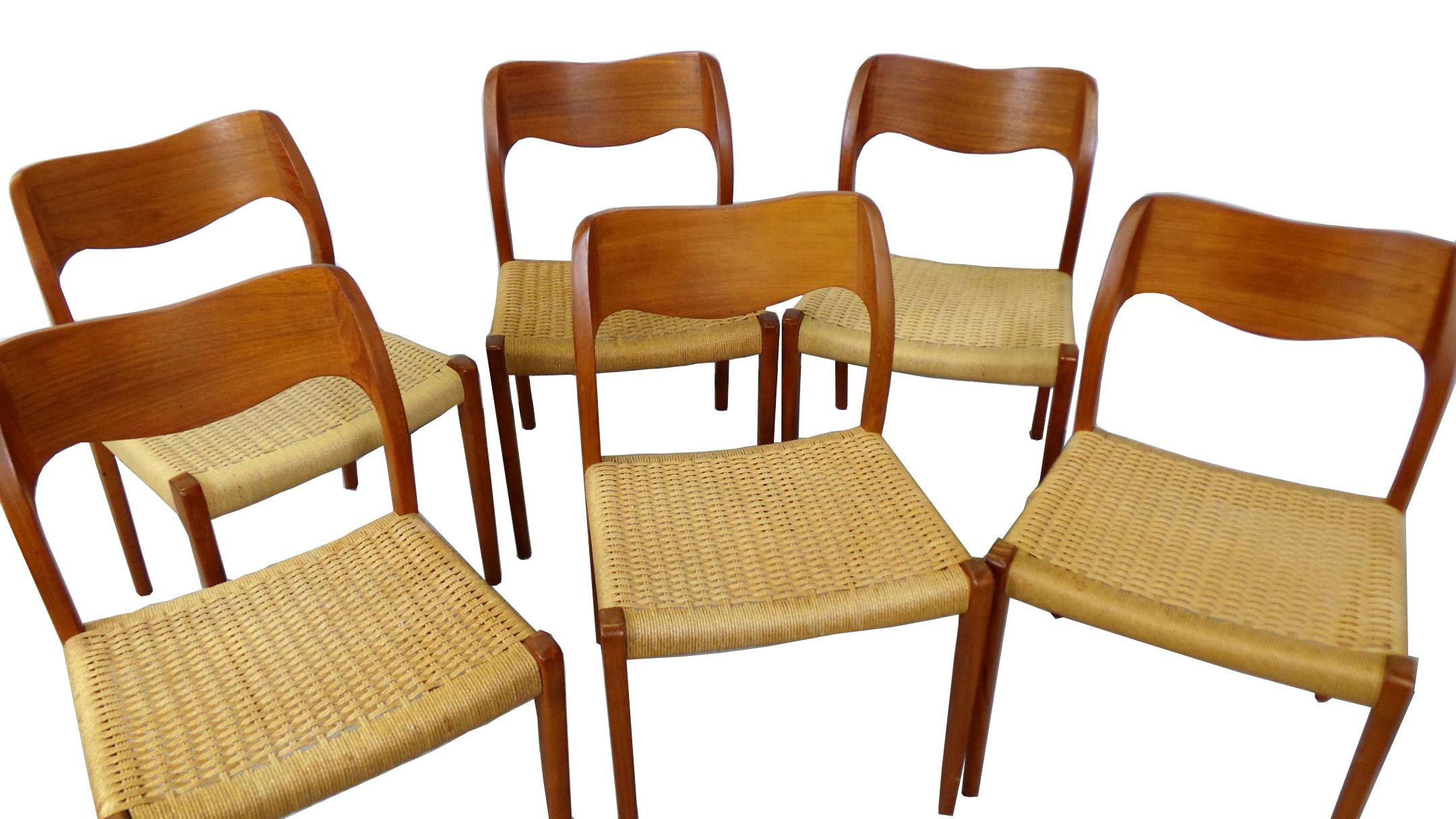 6 J.L.Møller. Model 71. Dining Chairs Danish Modern