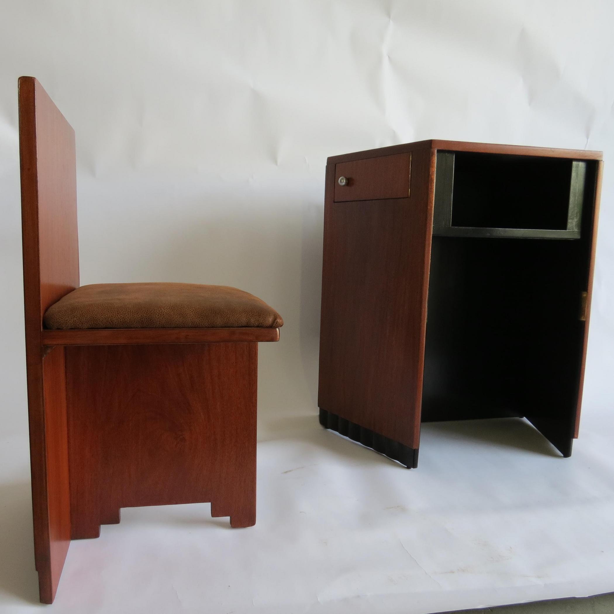 Small American Art Deco Writing Desk And Chair Modernism