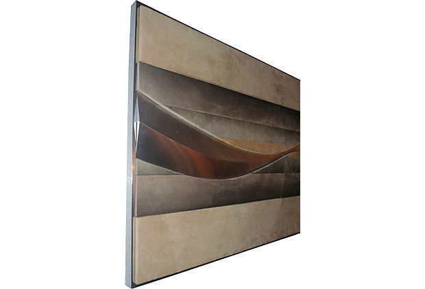 Three dimensional suede stainless steel wall sculpture for Stainless steel wall art