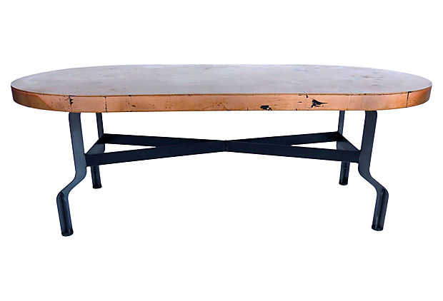 Industrial Coffee Table W Copper Leaf Top By Kevin Shahan Modernism