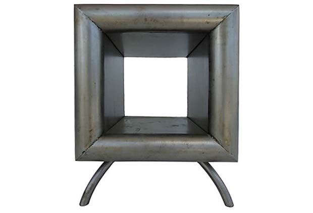 Industrial Steel Cube End Table By Kevin Shahan