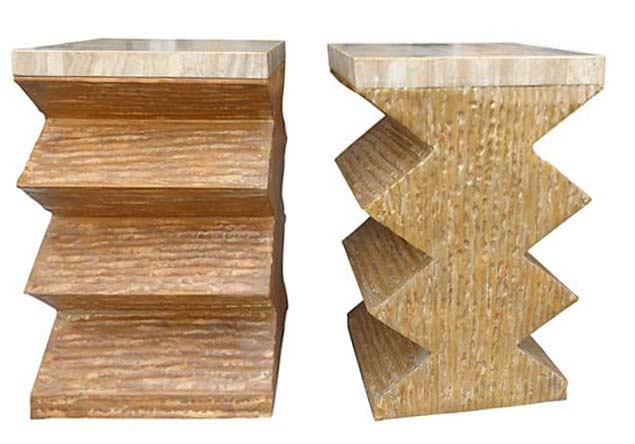 Modernist Geometric Tessellated Stone Table Bases Modernism