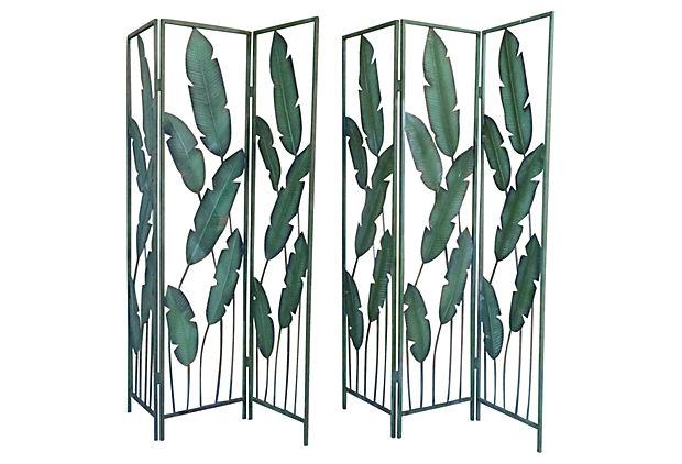 Pair of Tropical Painted Metal Room Dividers Modernism