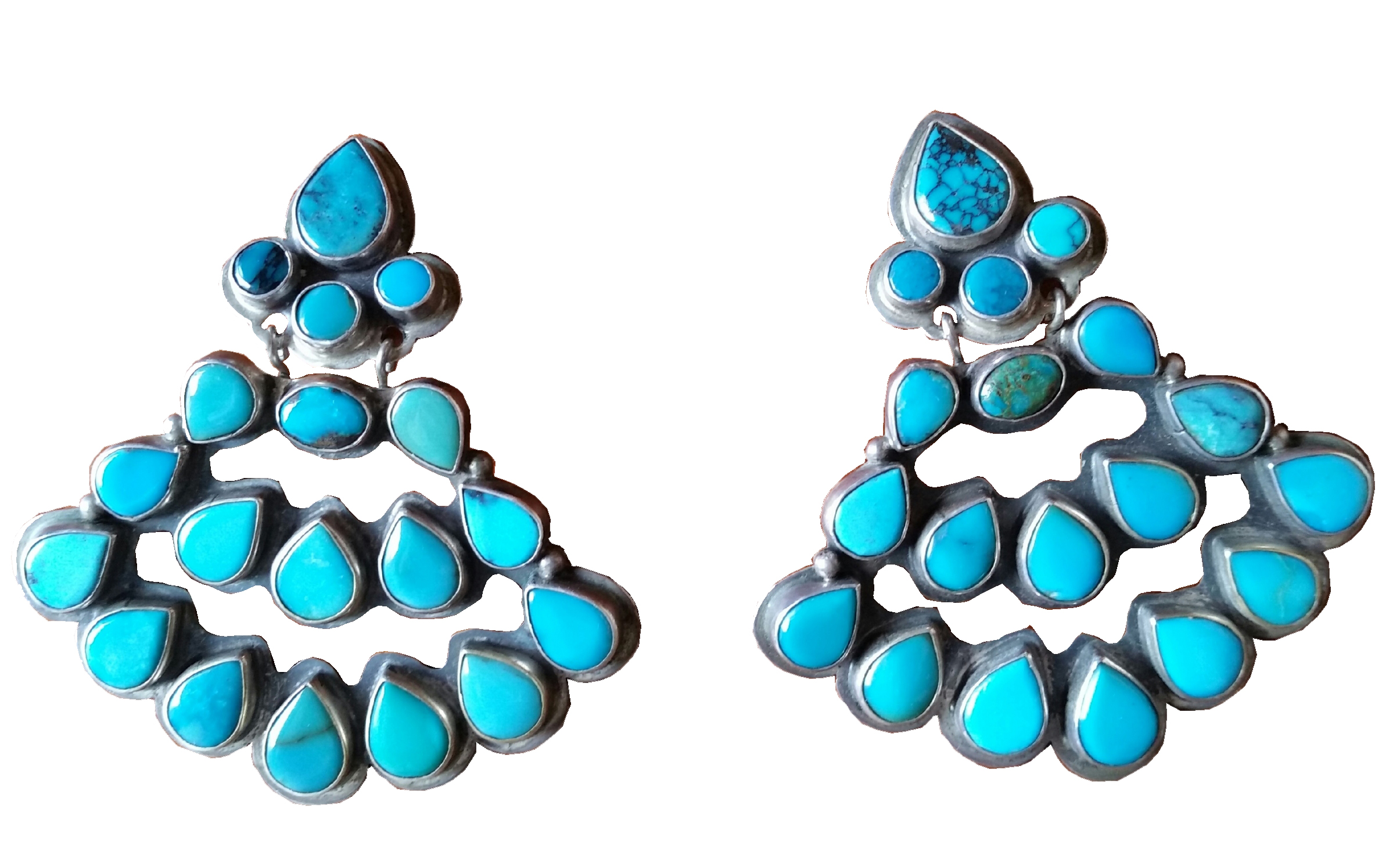 Native American Clip Turquoise Earrings Oscar Betz