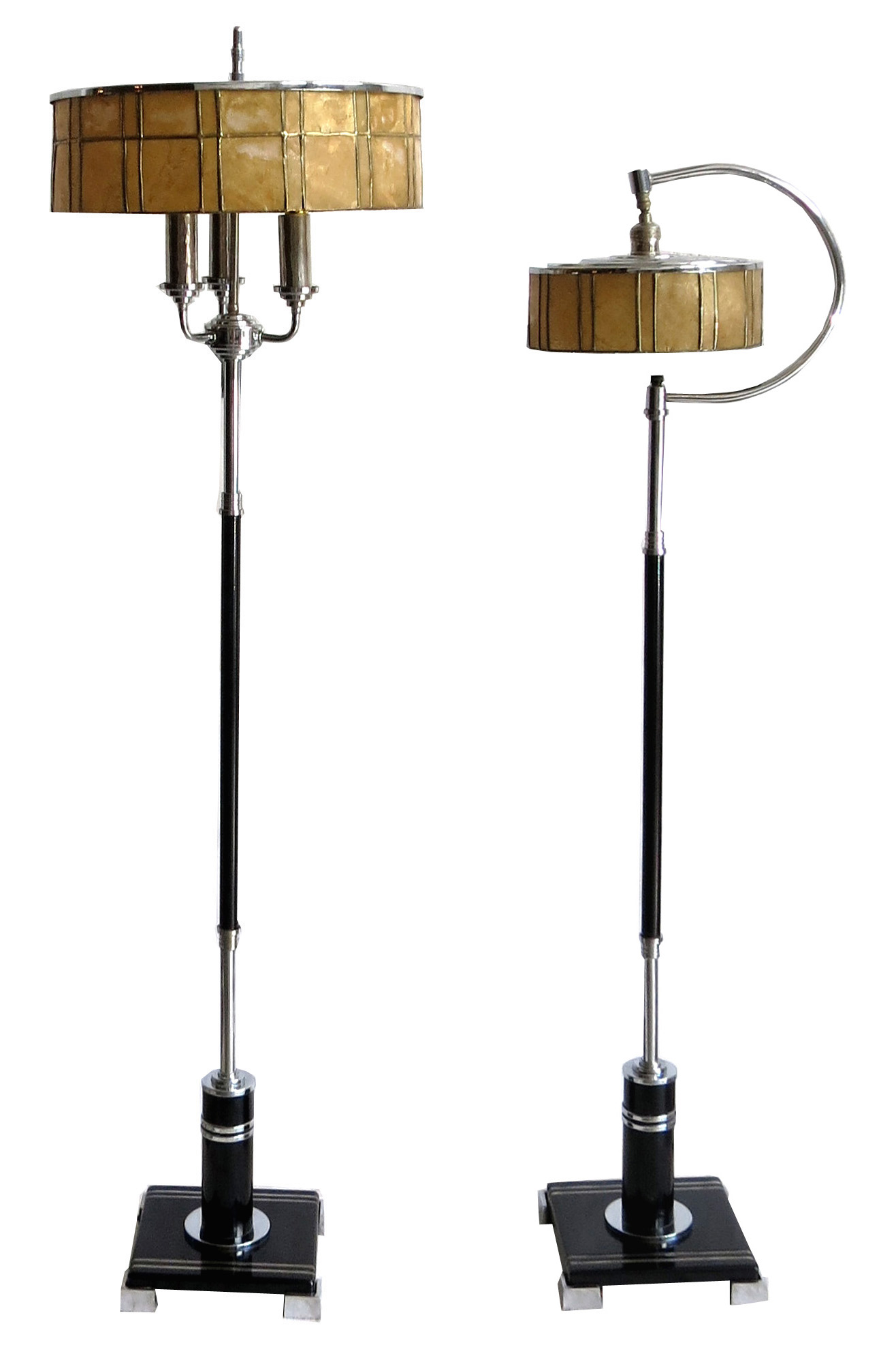 two american art deco floor lamps with mica shades modernism. Black Bedroom Furniture Sets. Home Design Ideas