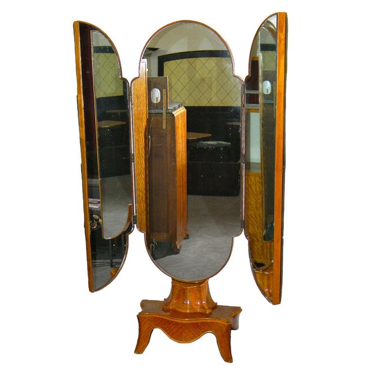 Continental Art Deco Tri Fold Standing Mirror Modernism