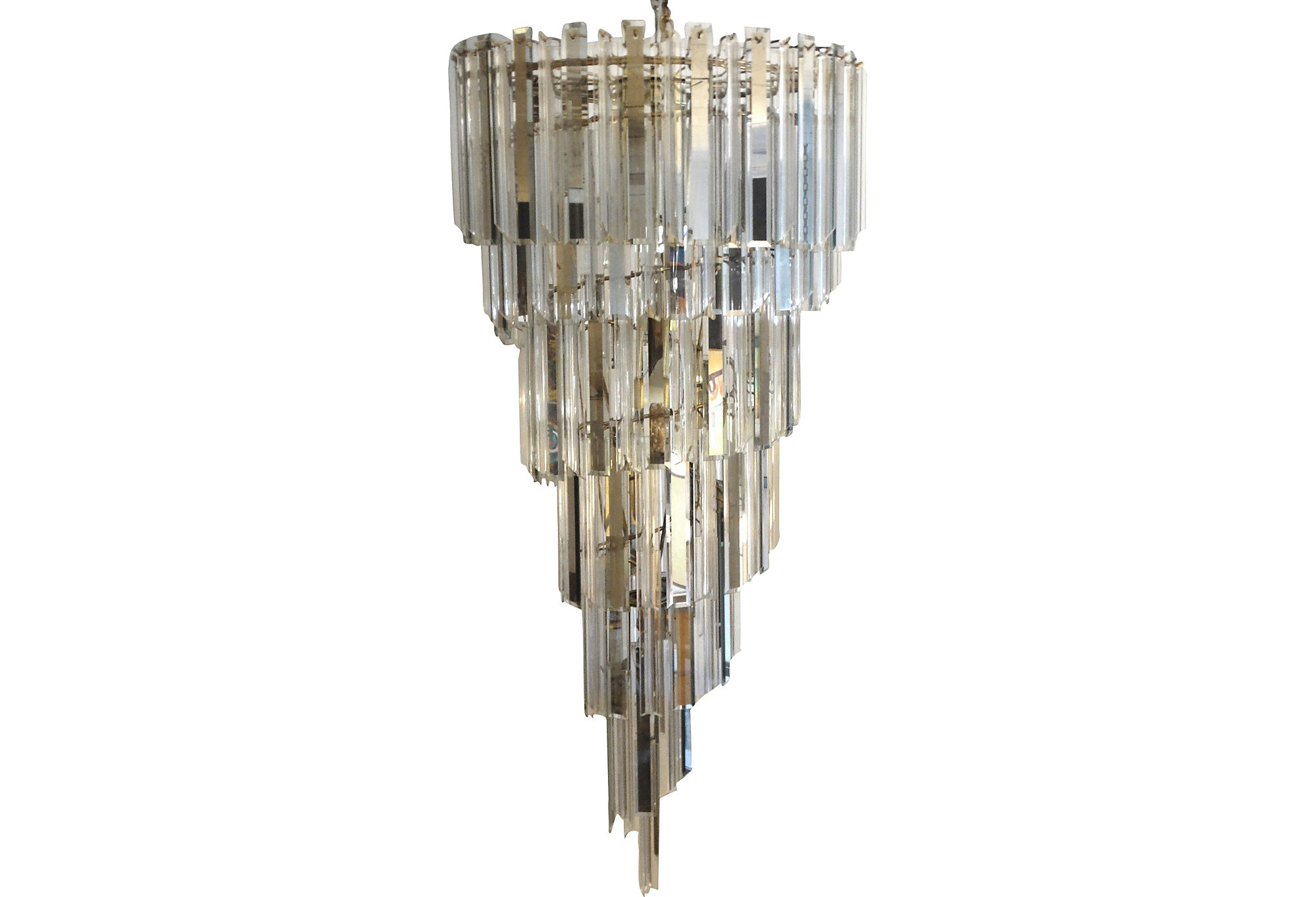 large sprial mid century modern venini style chandelier