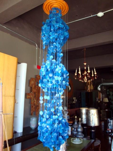 Panton Era Capiz Blue Shell Hanging Sculpture Modernism