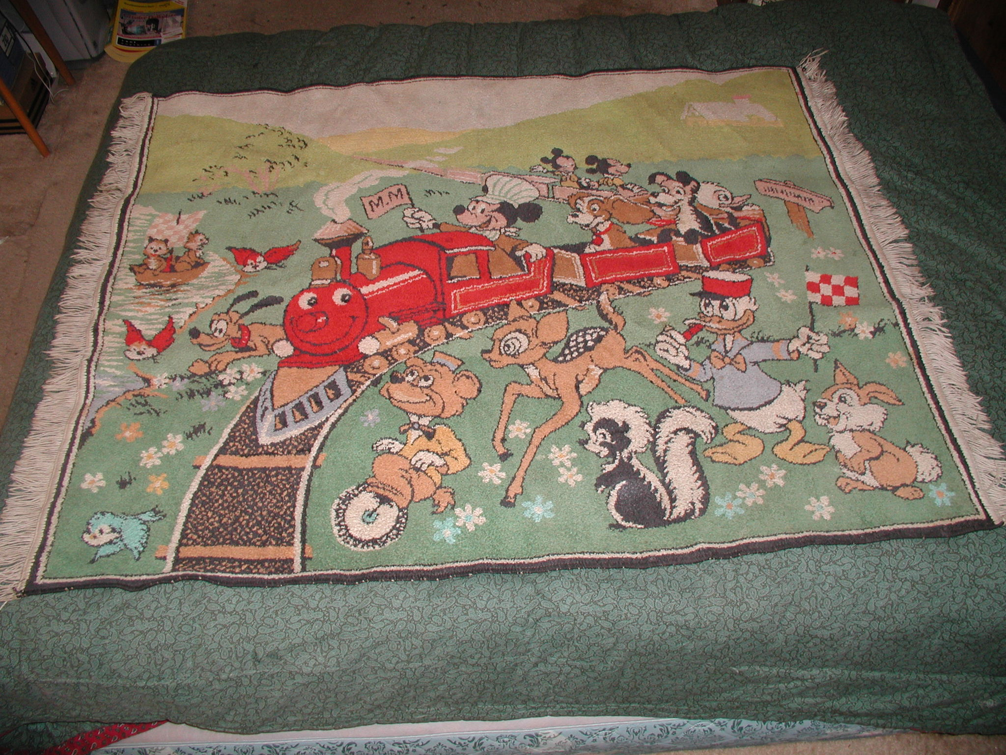 Vintage Walt Disney Mickey Mouse Wool Area Rug Modernism