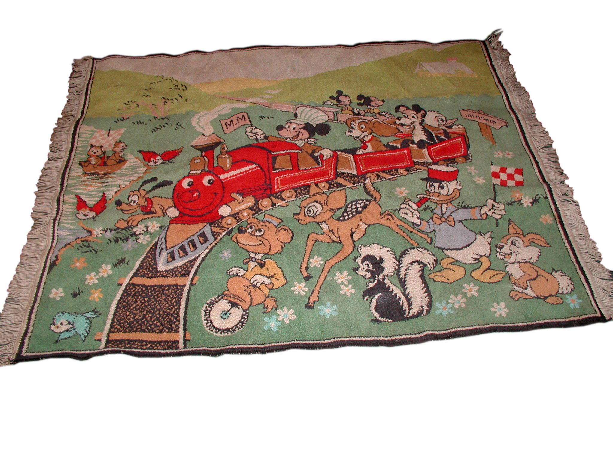 Vintage Walt Disney Mickey Mouse Wool Area Rug Modernism