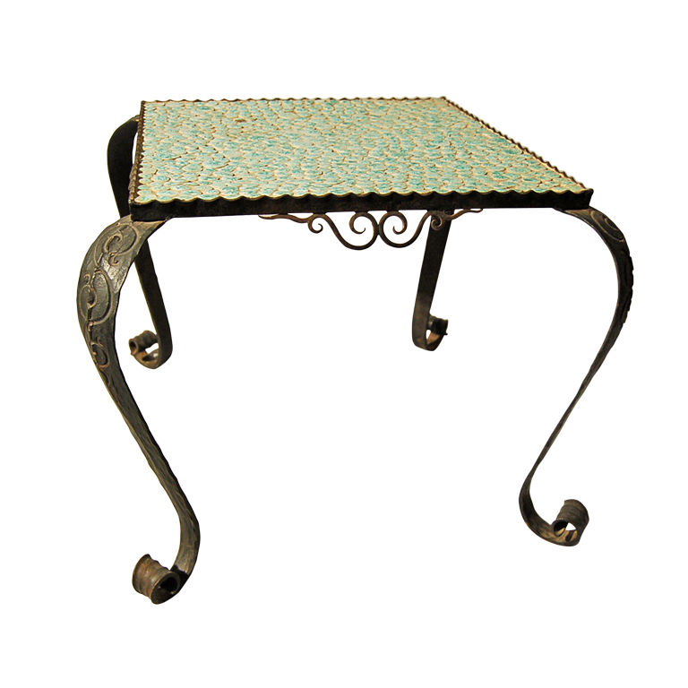 French Art Deco Wrought Iron And Ceramic Coffee/End Table