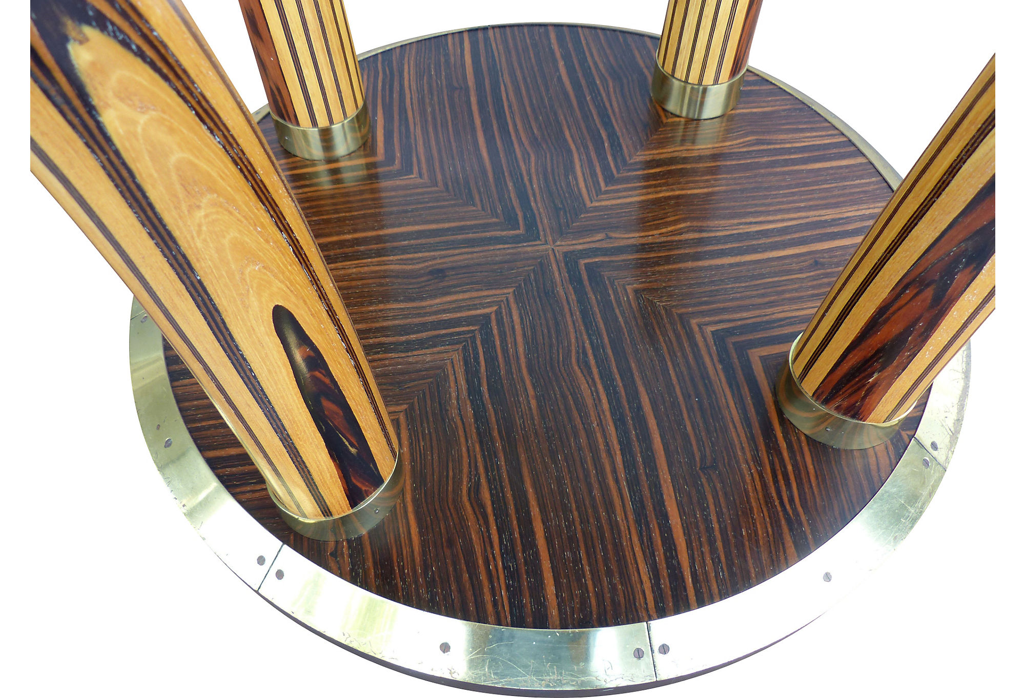 Mid Century Modern Zebra Wood Tusk Dining Table