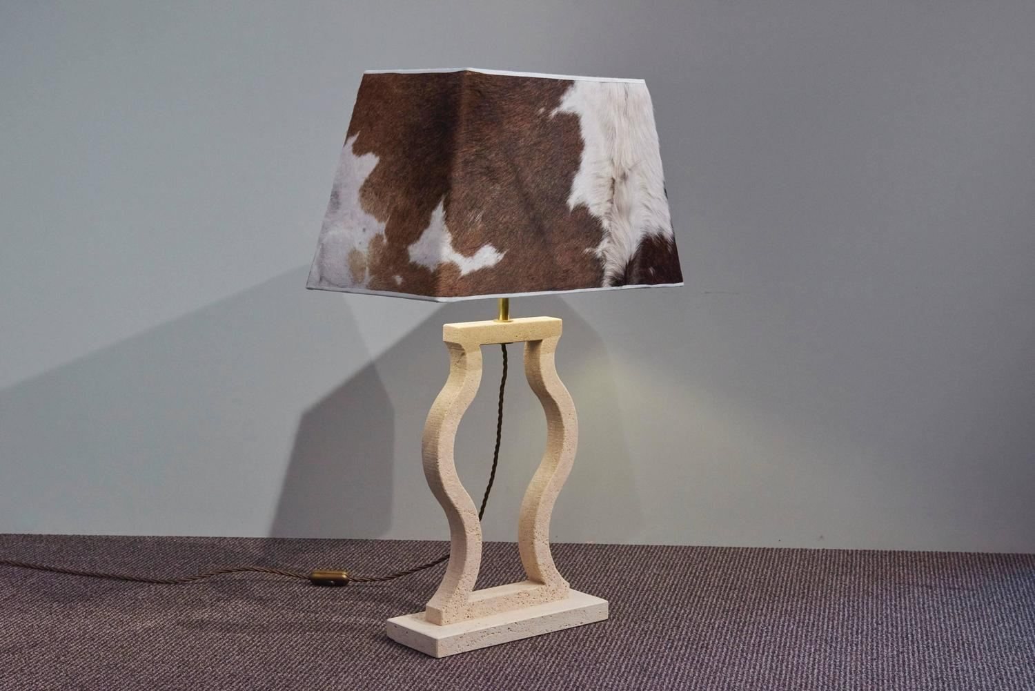 Travertine Table Lamp With Cowhide Shade Rustic Modern