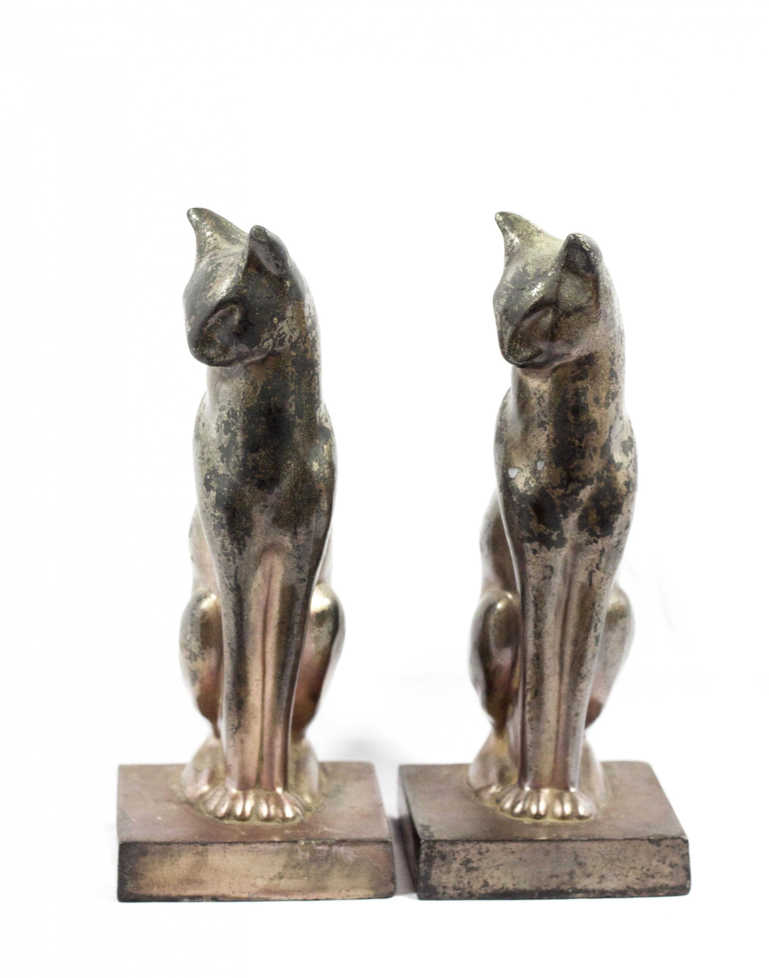 Vintage Art Deco Style Cat Bookends Modernism