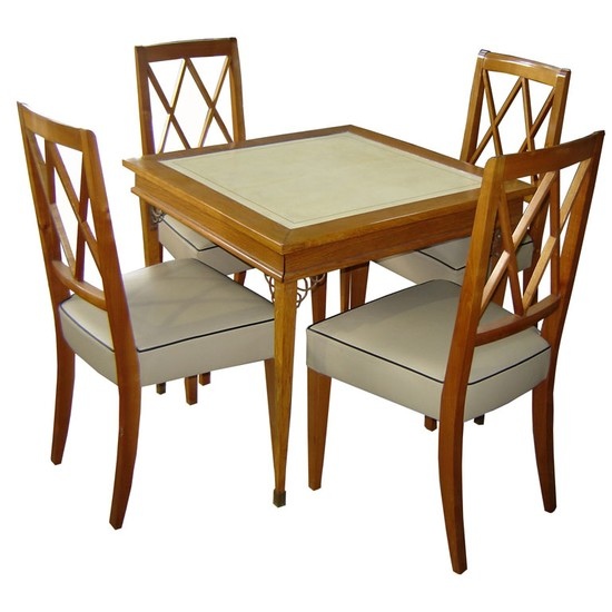 wood card table and chairs 3