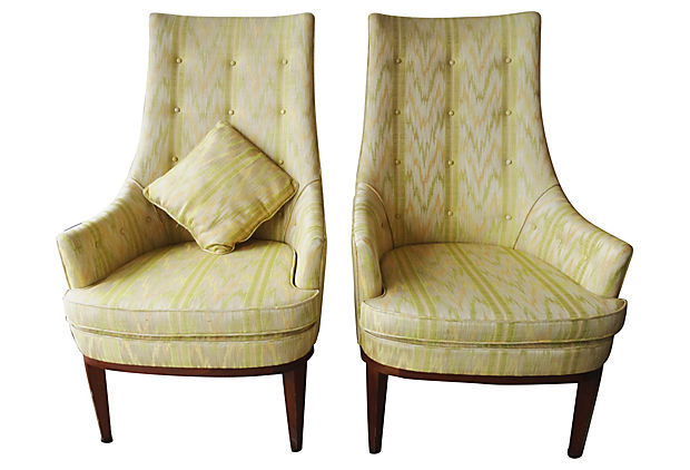 Pair Of Adrian Pearsall Hollywood Regency Chairs
