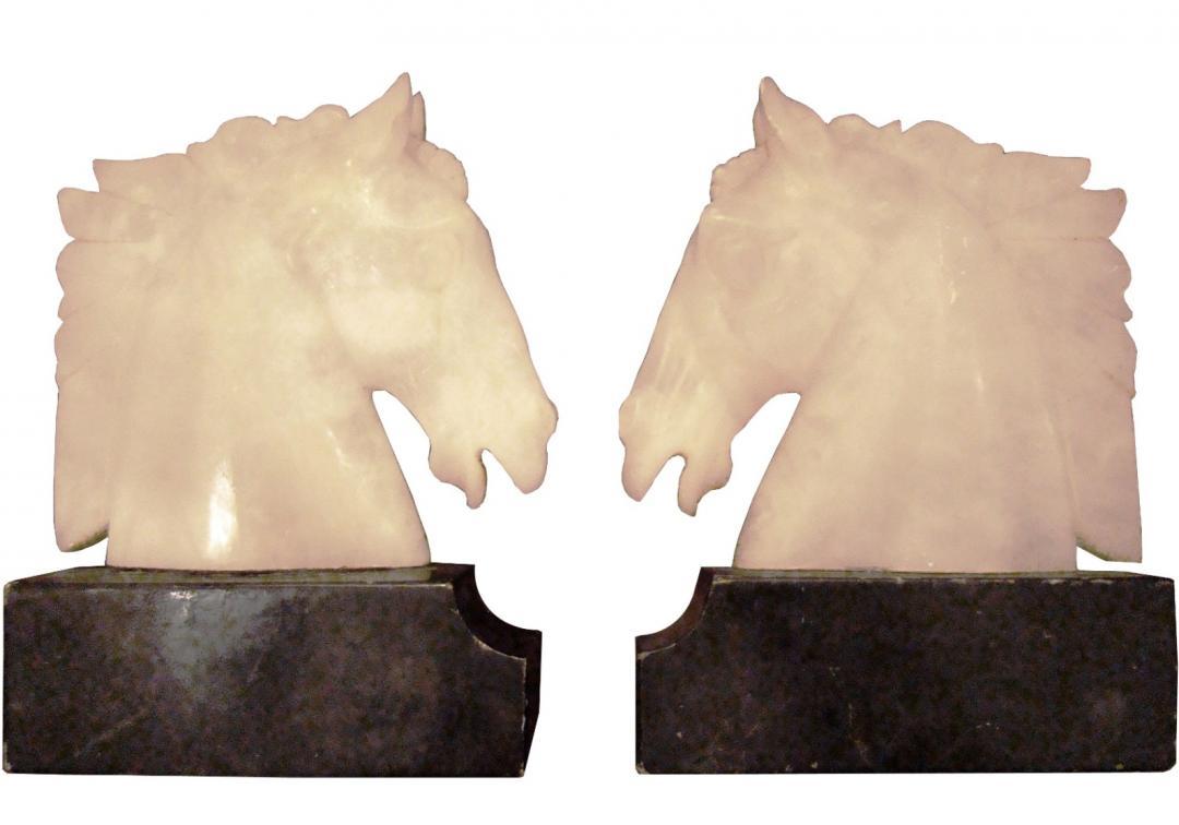 Vintage Carved Alabaster Horse Bookends On Marble Plinths