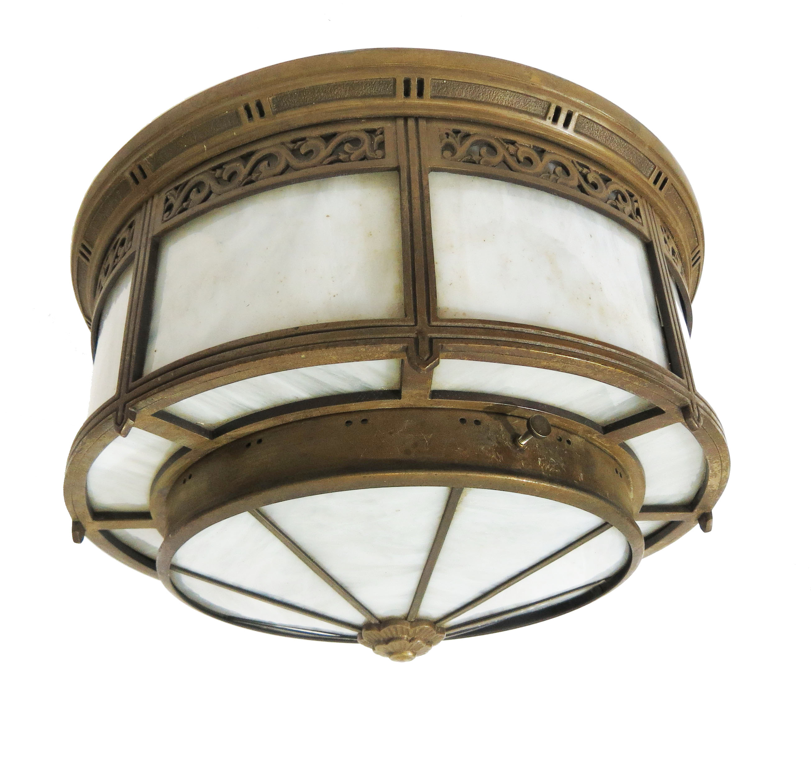 A Pair Of Classic American Art Deco Bronze Ceiling Lights