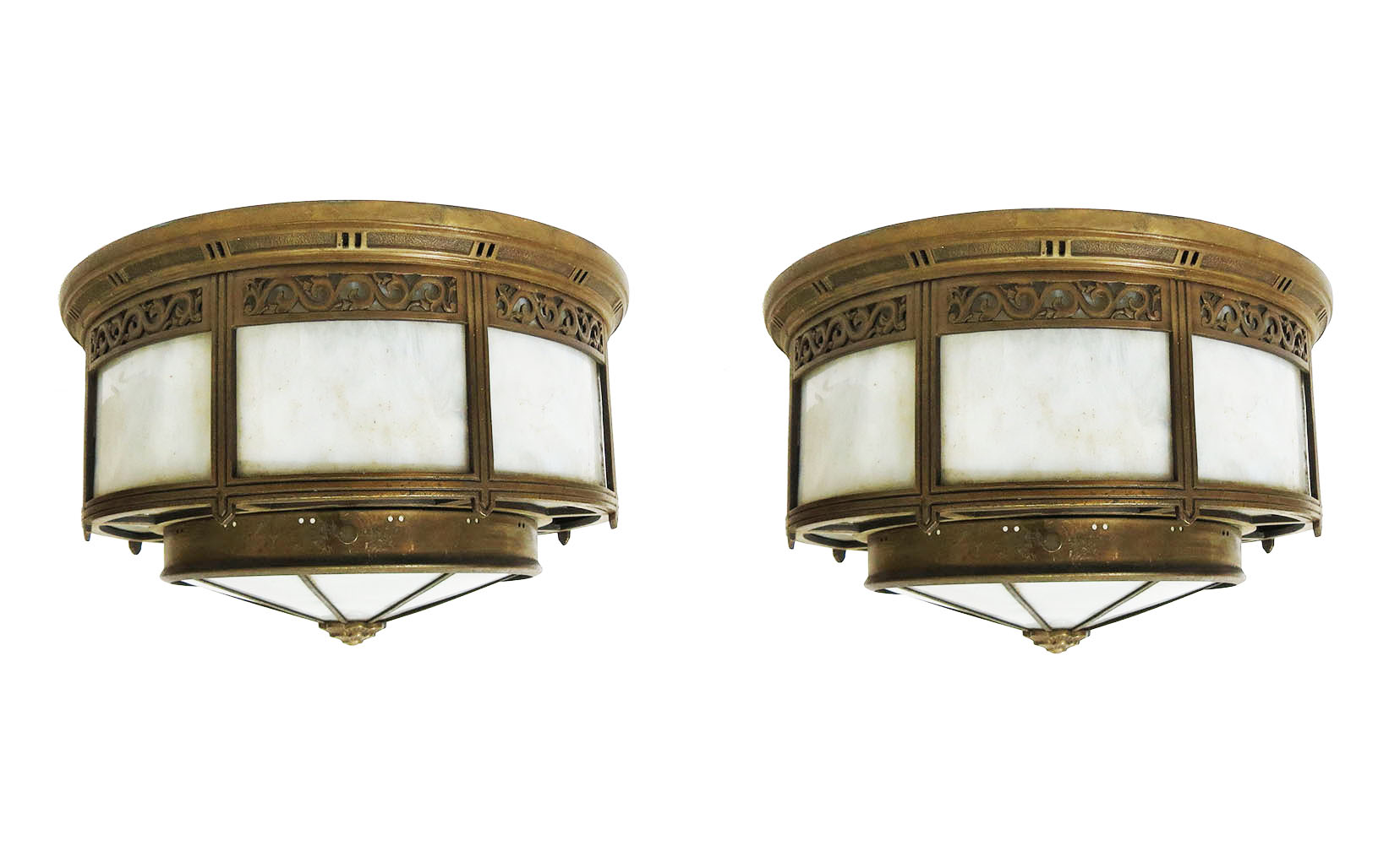 A pair of classic american art deco bronze ceiling lights for American classic lighting