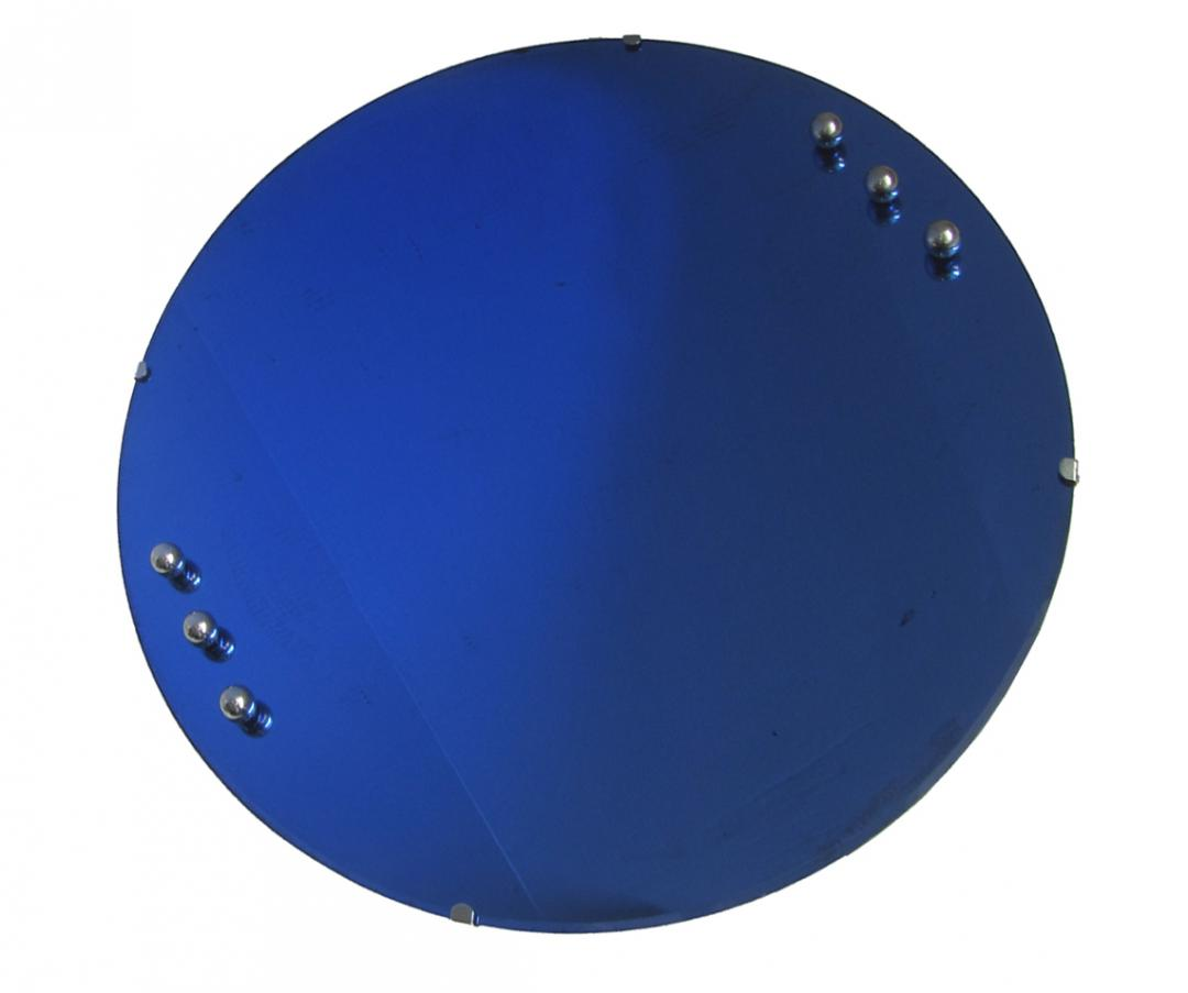 American Art Deco Cobalt Blue Mirror With Six Chrome Balls