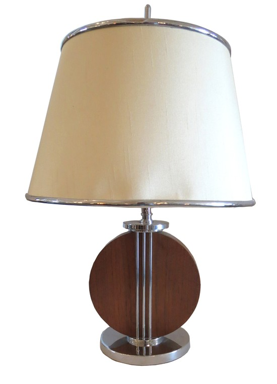 American Art Deco Mahogany And Chrome Table Lamp