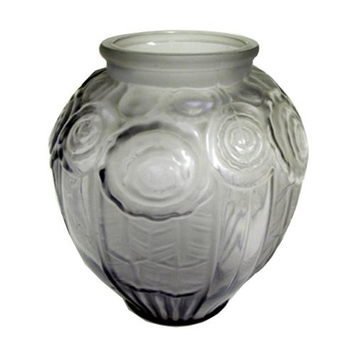 Andre Hunebelle French Art Deco Geometric Roses Vase