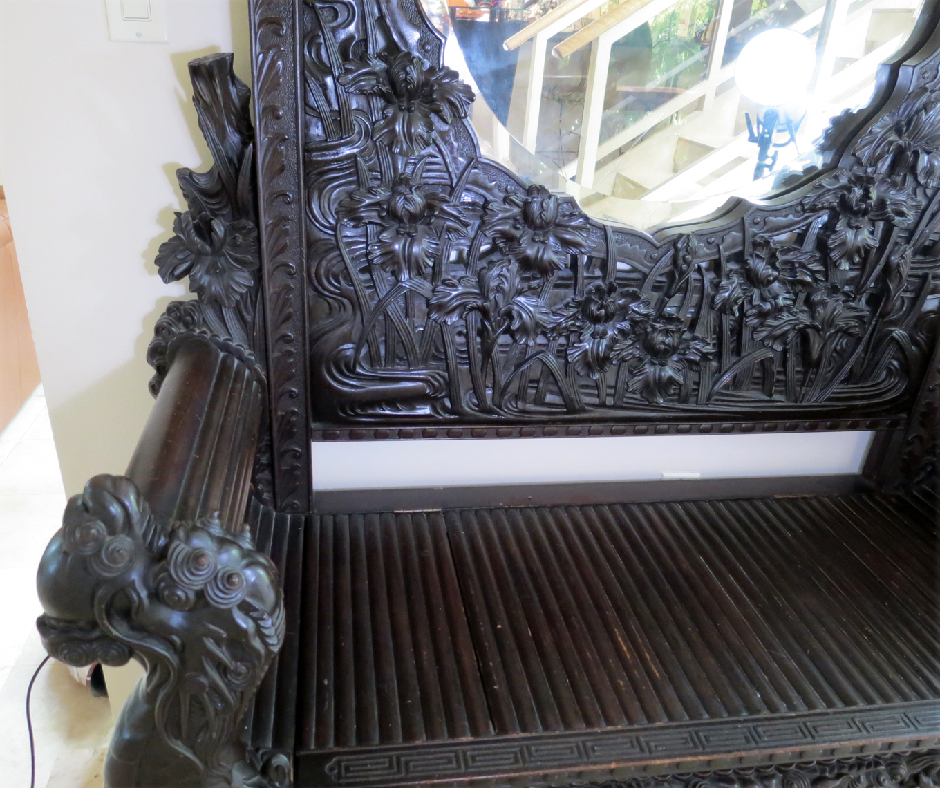 Antique Japanese Carved Bench Dragon With Mirror 96 Quot High