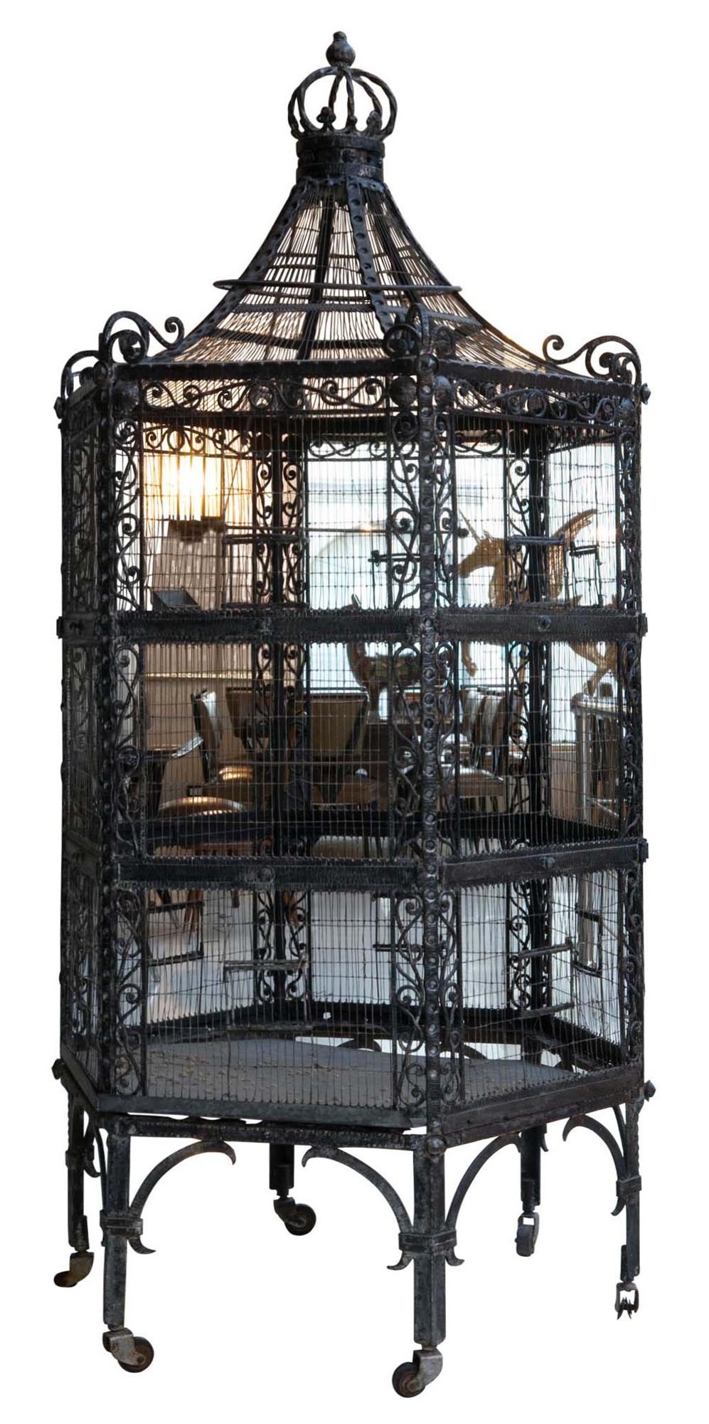 Fabulous Art Nouveau Wrought Iron Birdcage Modernism