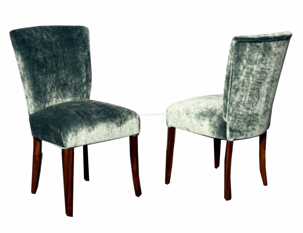 Pair French Art Deco Side Chairs In Blue Velour Velvet