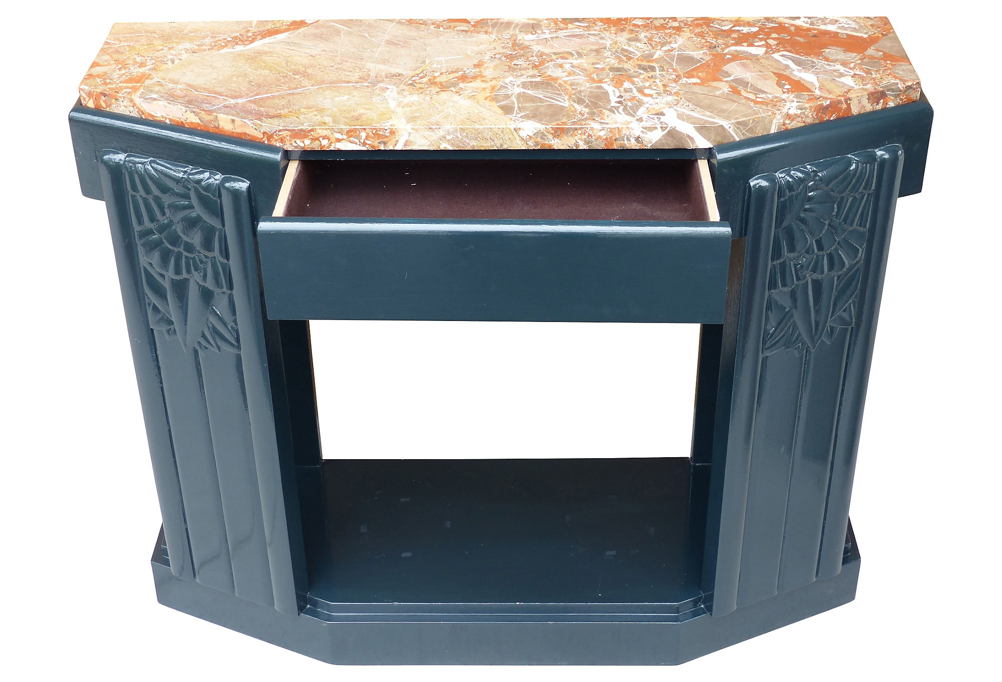art deco painted carved wood console table w a marble top modernism. Black Bedroom Furniture Sets. Home Design Ideas