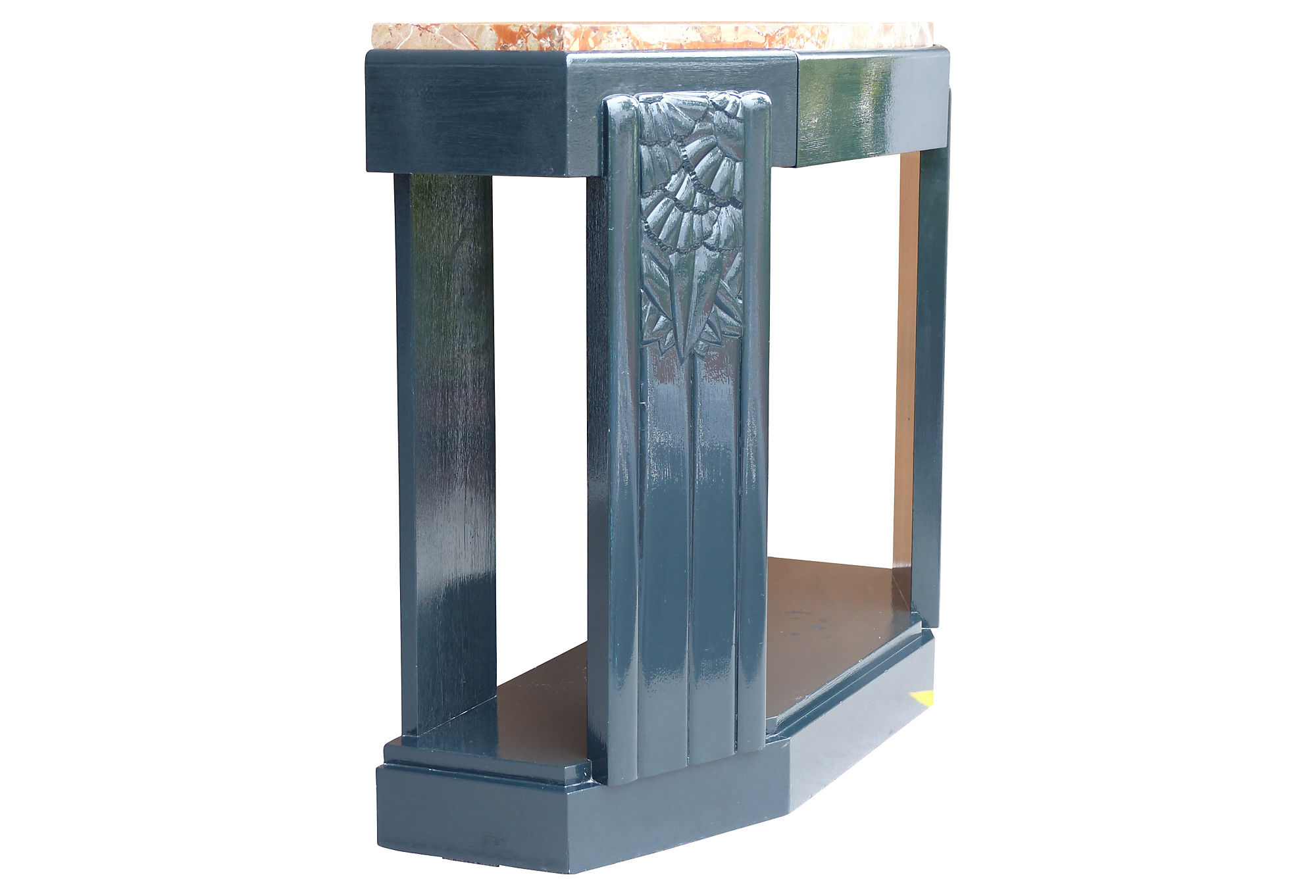 Art deco painted carved wood console table w a marble top modernism art deco painted carved wood console table w a marble top geotapseo Gallery