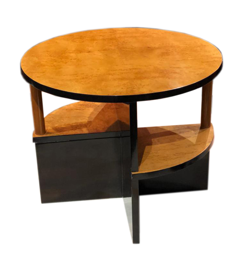 Art Deco Round End Table Two Levels