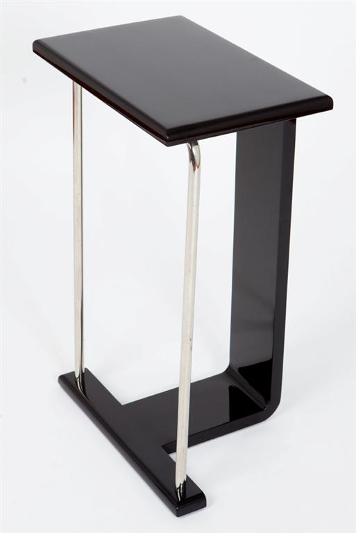American Art Deco Occasional Table In Black Lacquer Chrome