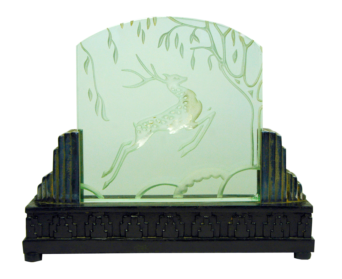 Art deco luminaire satin glass with prancing deer relief - Luminaire art deco plafonnier ...